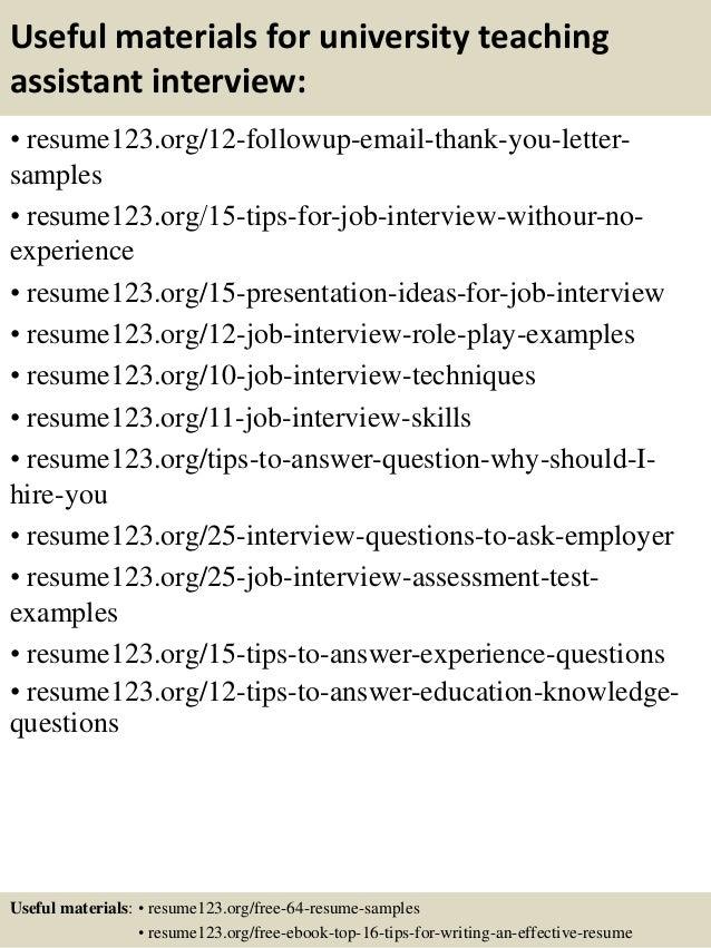 top 8 university teaching assistant resume samples