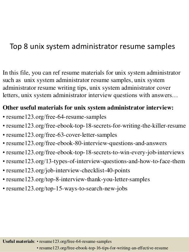unix admin resumes - Zoray.ayodhya.co