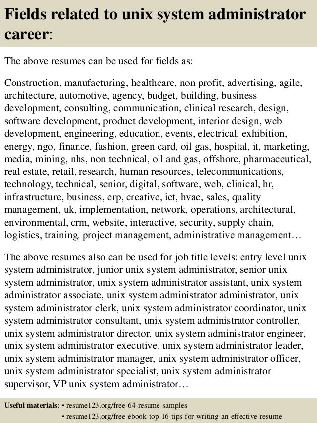 ... 16. Fields Related To Unix System Administrator ...  System Administrator Resume Sample