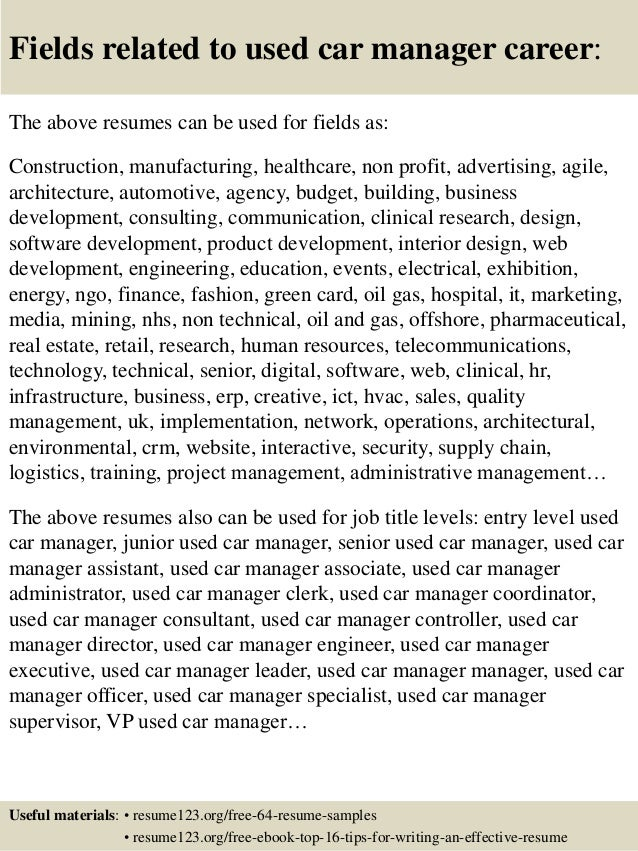 Top 8 used car manager resume samples