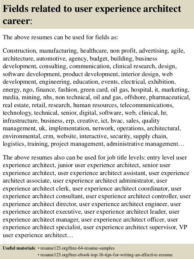top 8 user experience architect resume samples