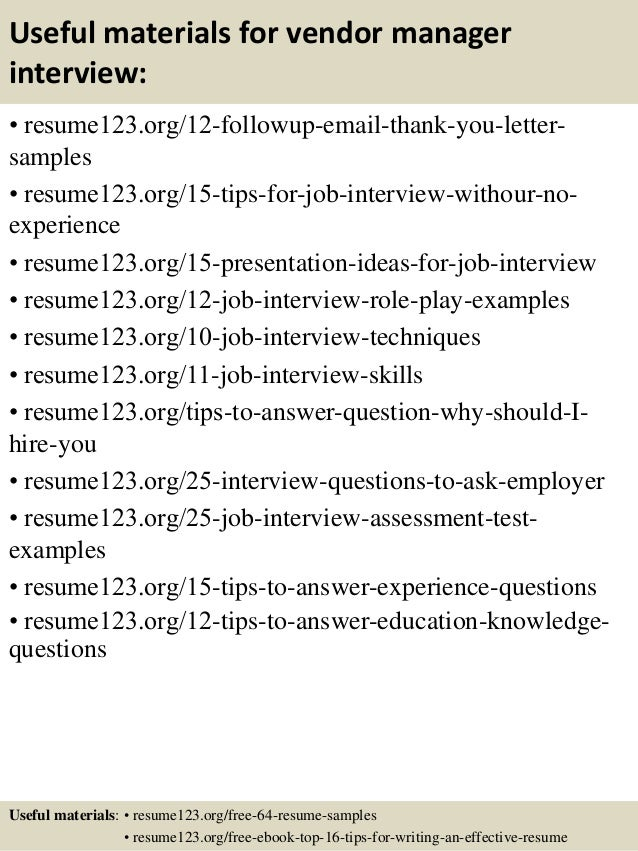 top 8 vendor manager resume samples