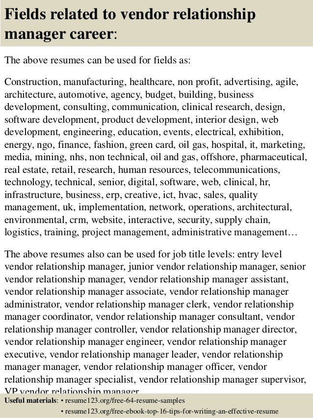 Superb ... 16. Fields Related To Vendor Relationship Manager ...