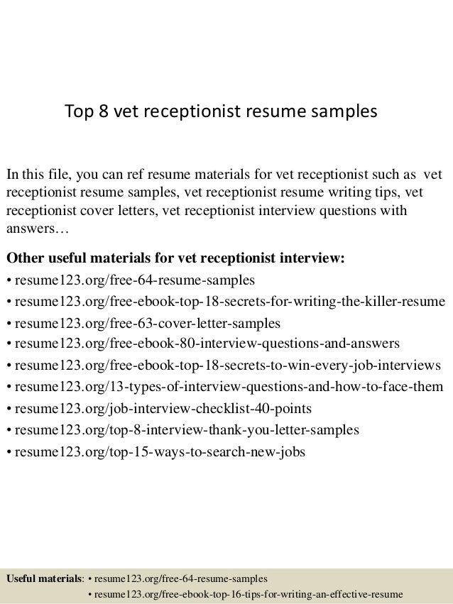 vet receptionist resume