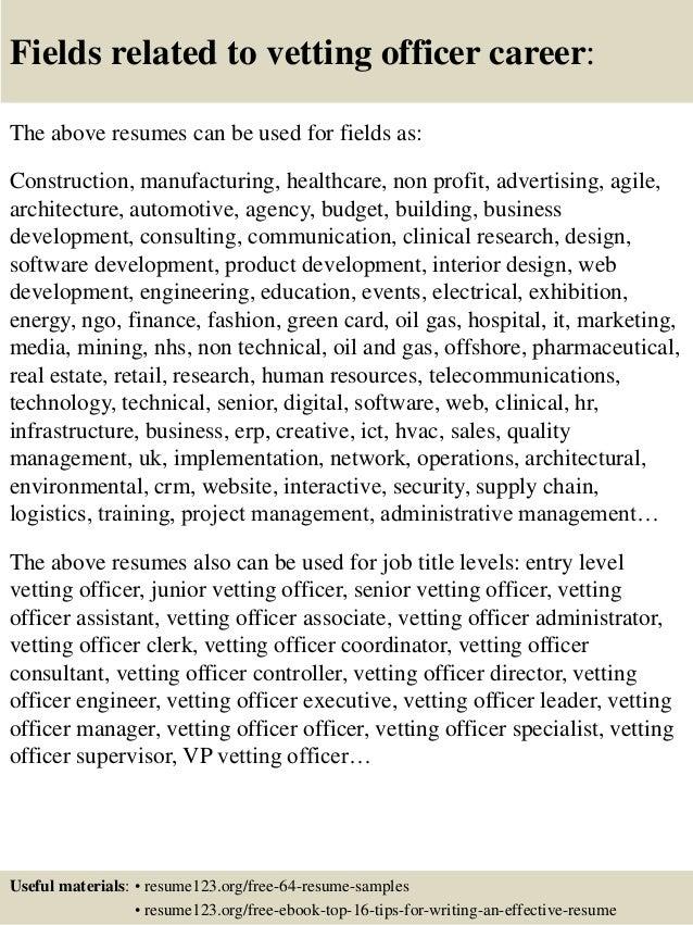 top 8 vetting officer resume samples