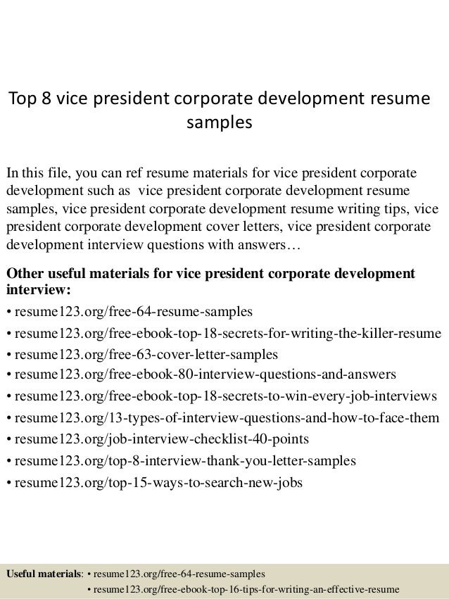 Top 8 Vice President Corporate Development Resume Samples