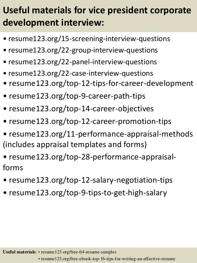 Top  Vice President Corporate Development Resume Samples