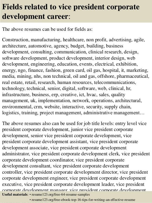 Top 8 Vice President Corporate Development Resume Samples