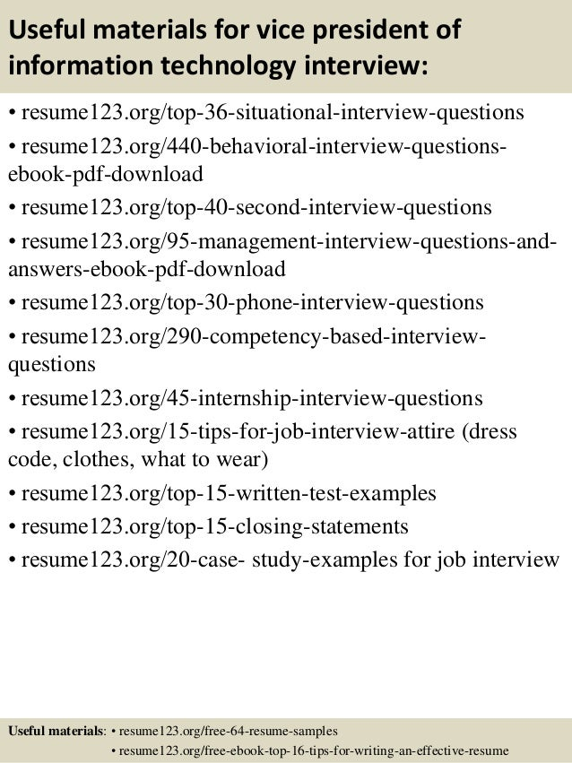 ... 12. Useful Materials For Vice President Of Information Technology ...  Sample Information Technology Resume