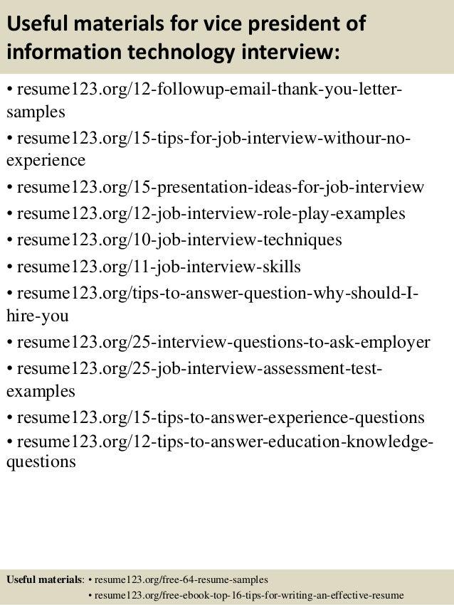 Vp Of Information Technology Resume