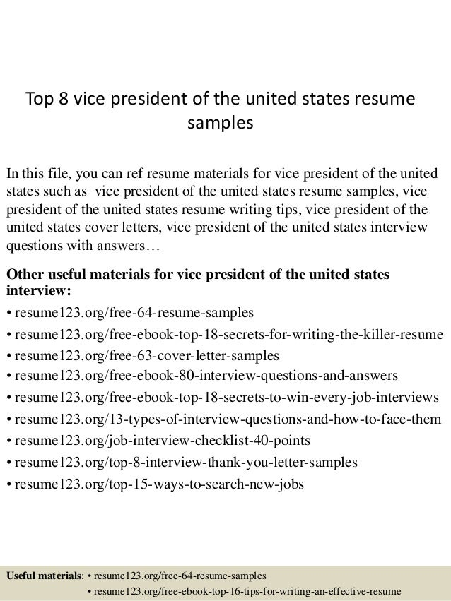 top 8 vice president of the united states resume samples
