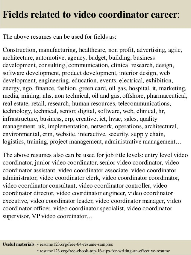 16 fields related to video video resume sample