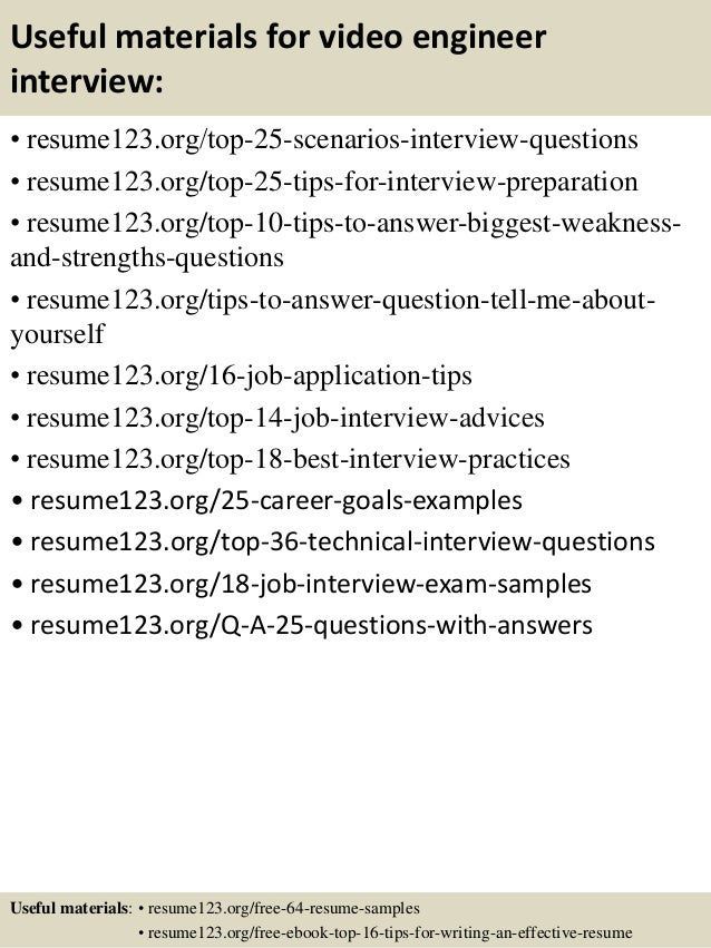 ... 13. Useful Materials For Video ...  Video Resume Tips
