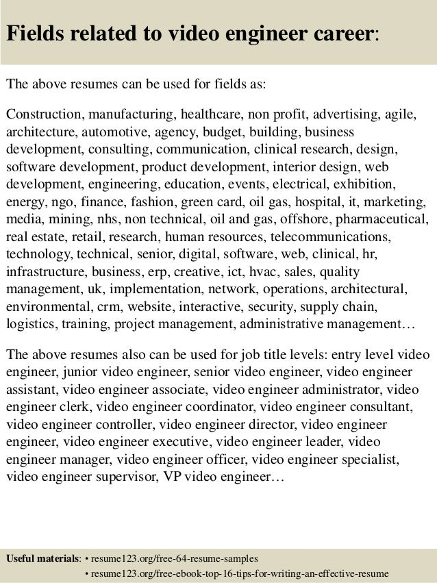 16 fields related to video - Video Resumes Samples