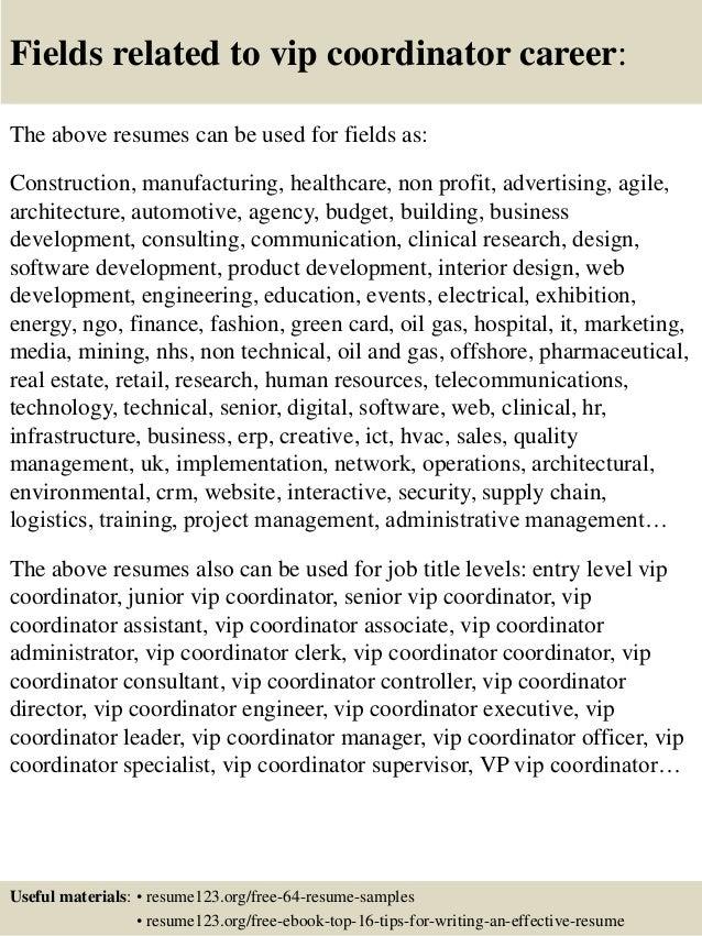 Top 8 vip coordinator resume samples