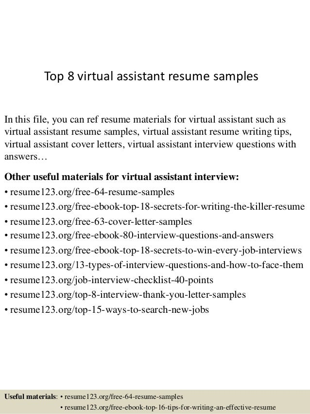 top 8 virtual assistant resume samples in this file you can ref resume materials for - Virtual Assistant Resume Sample