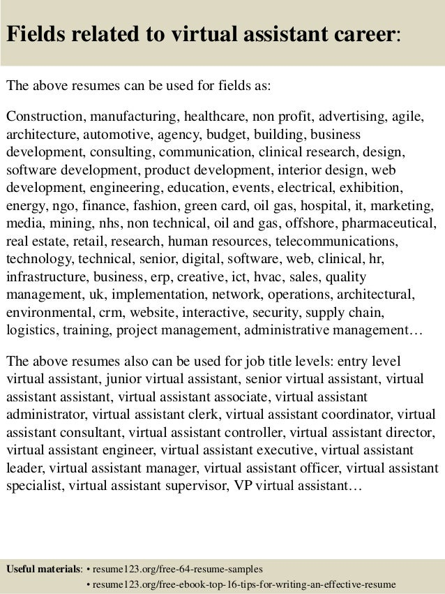 16 fields related to virtual assistant - Virtual Assistant Resume Sample