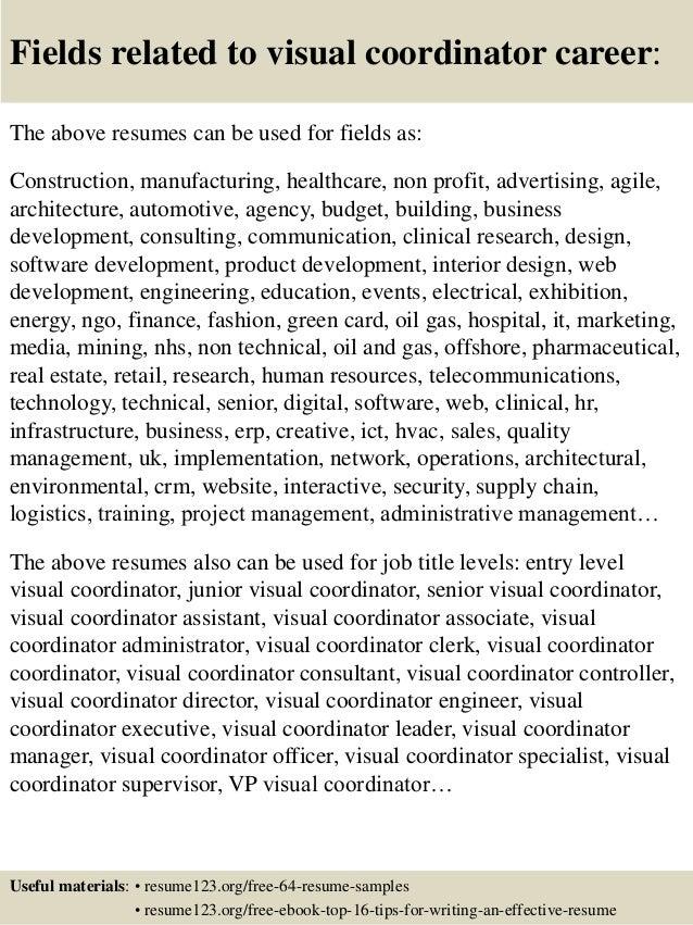 Top 8 visual coordinator resume samples