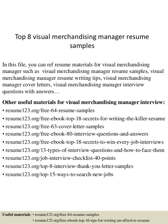 Superb Top 8 Visual Merchandising Manager Resume Samples In This File, You Can Ref  Resume Materials ...