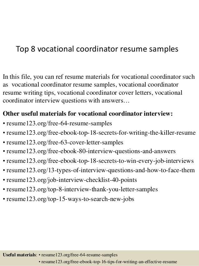 top 8 vocational coordinator resume samples