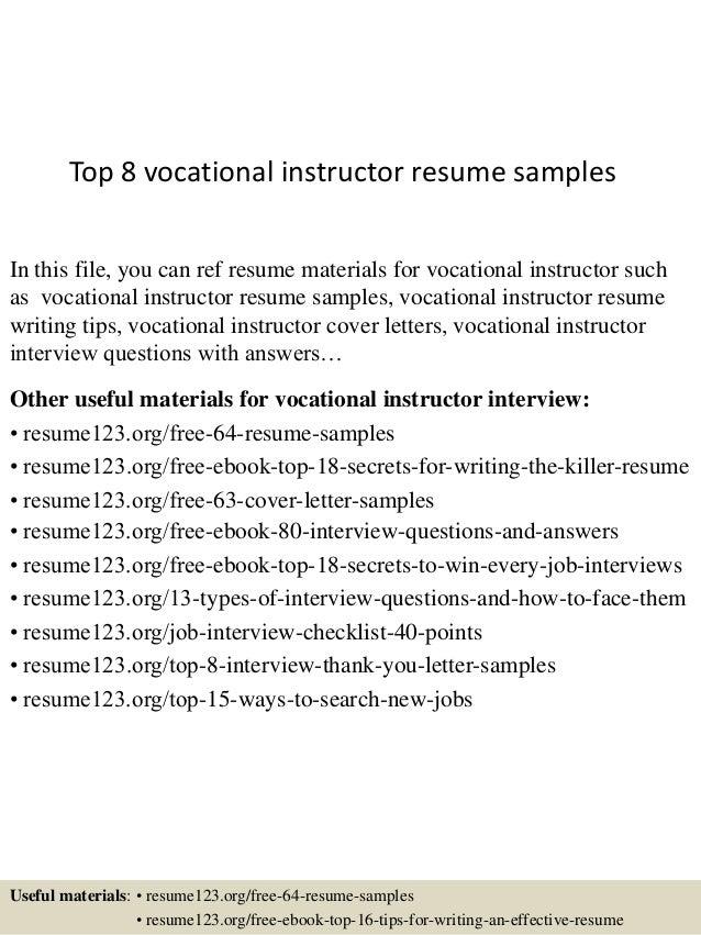 Top 8 vocational instructor resume samples