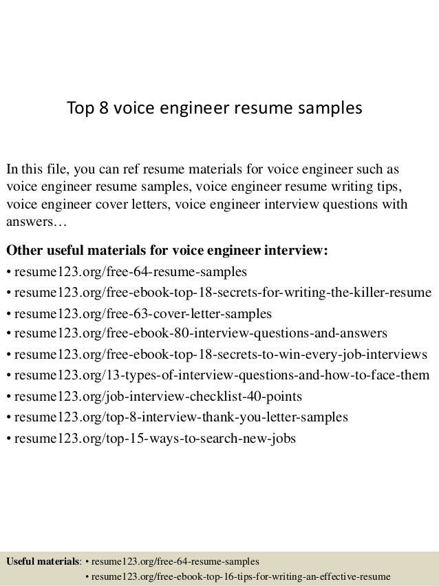 Top 8 Voice Engineer Resume Samples In This File You Can Ref Materials For