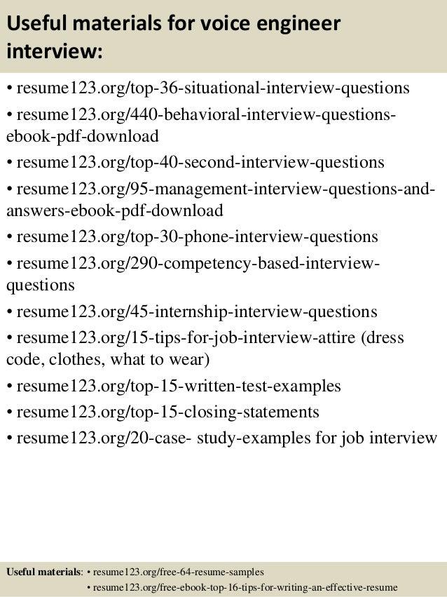 top 8 voice engineer resume samples