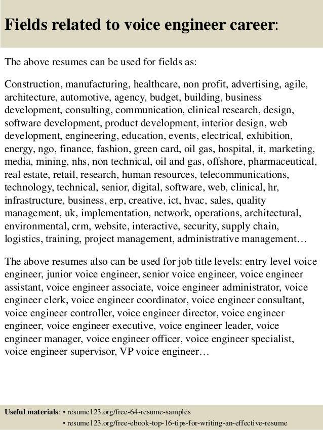 16 Fields Related To Voice Engineer