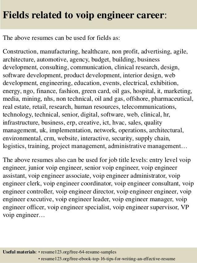 Top 8 voip engineer resume samples