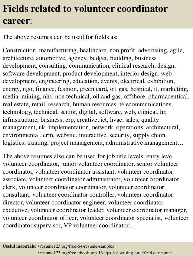 16 fields related to volunteer coordinator - Volunteer Coordinator Cover Letter