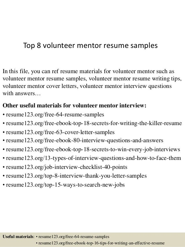 top8volunteermentorresumesamples1638jpgcb 1433556061 – Volunteer Resume
