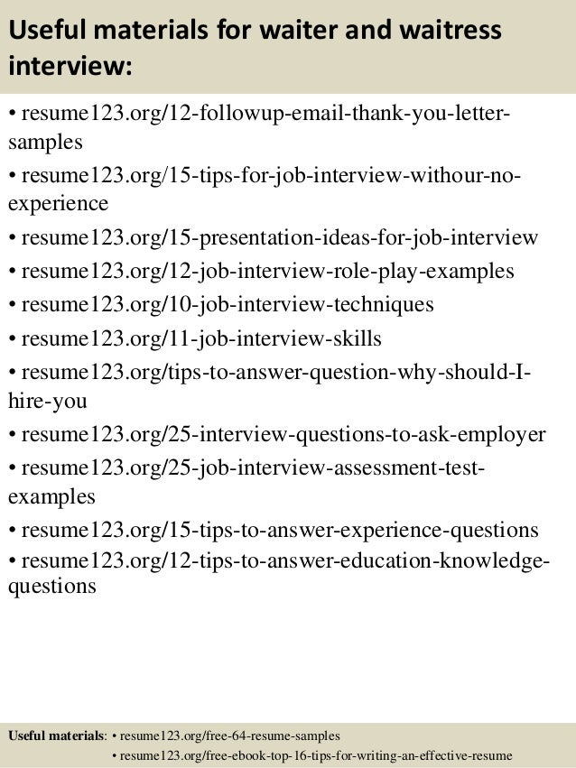 Top 8 Waiter And Waitress Resume Samples