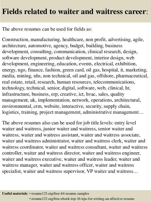 waitress on resume