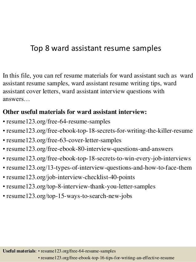 Top 8 Ward Assistant Resume Samples