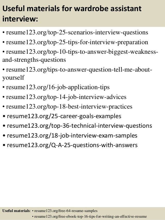 Top 8 wardrobe assistant resume samples
