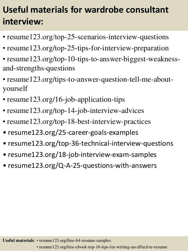 top 8 wardrobe consultant resume samples - Wardrobe Consultant Sample Resume