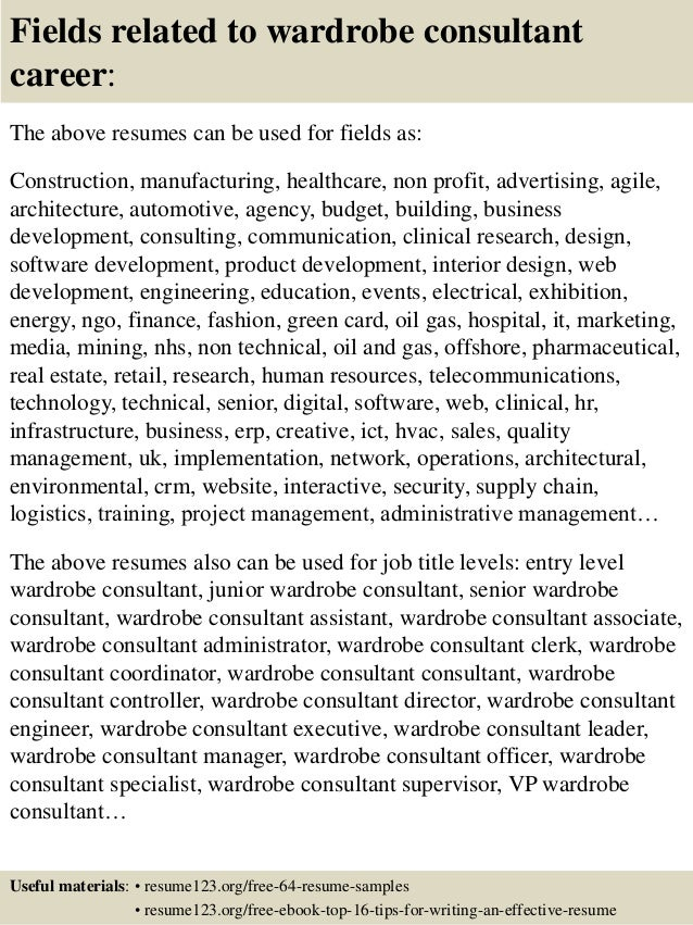 16 fields related to wardrobe consultant - Wardrobe Consultant Sample Resume