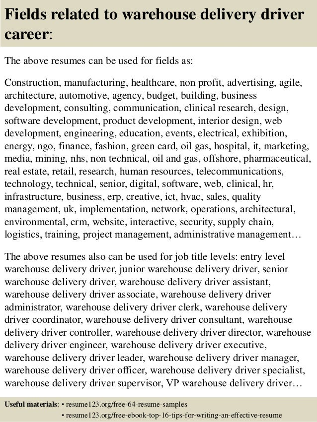 top 8 warehouse delivery driver resume samples