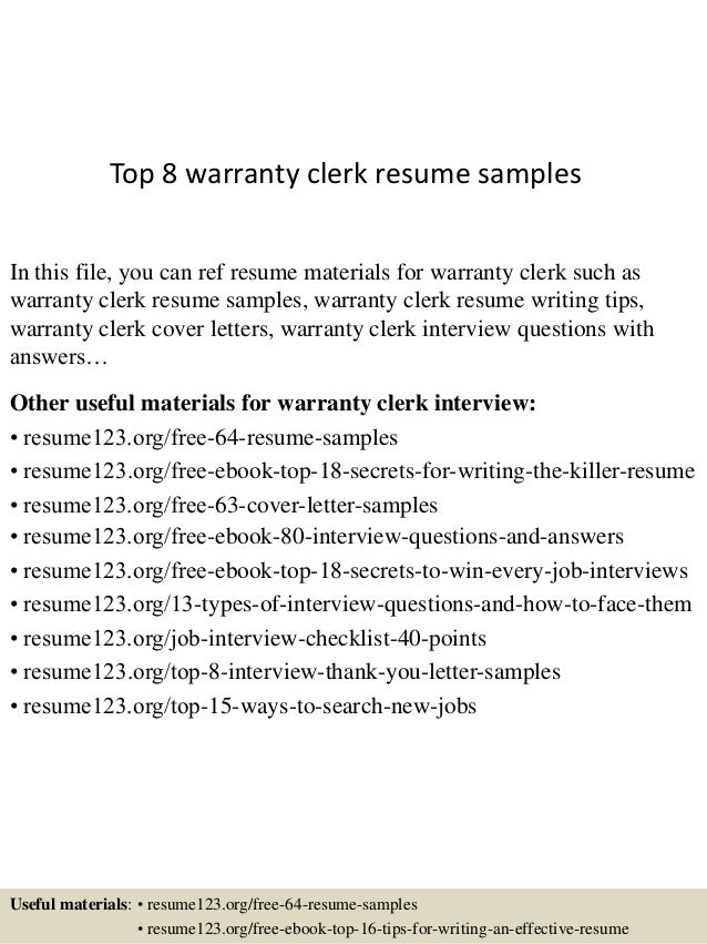 Top 8 warranty clerk resume samples