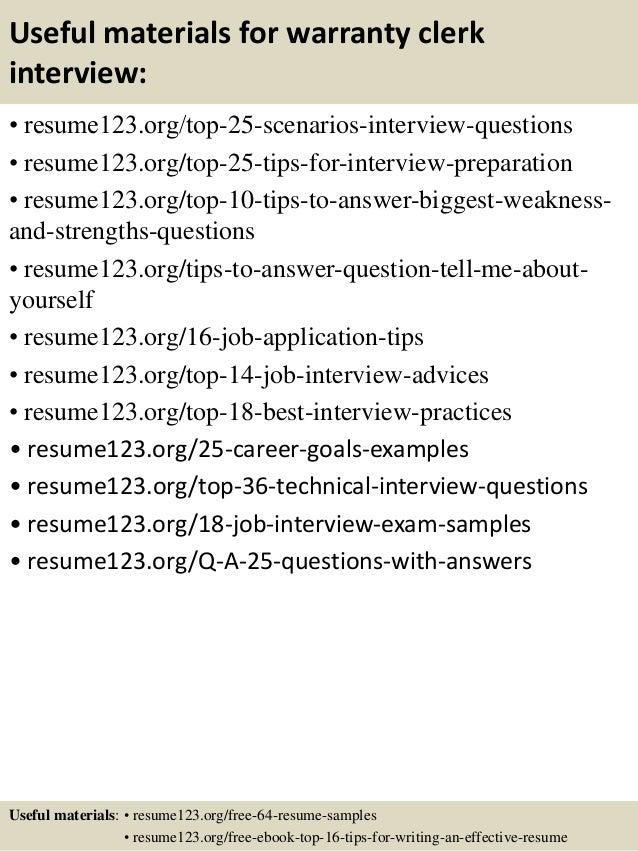 useful materials for warranty clerk interview resume123 org top 25