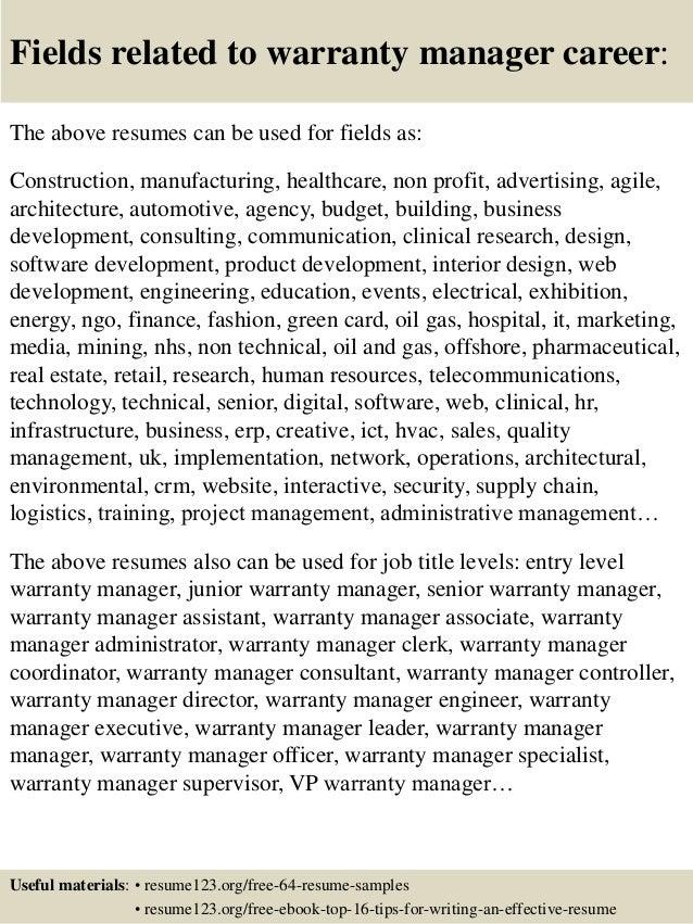 Top 8 warranty manager resume samples