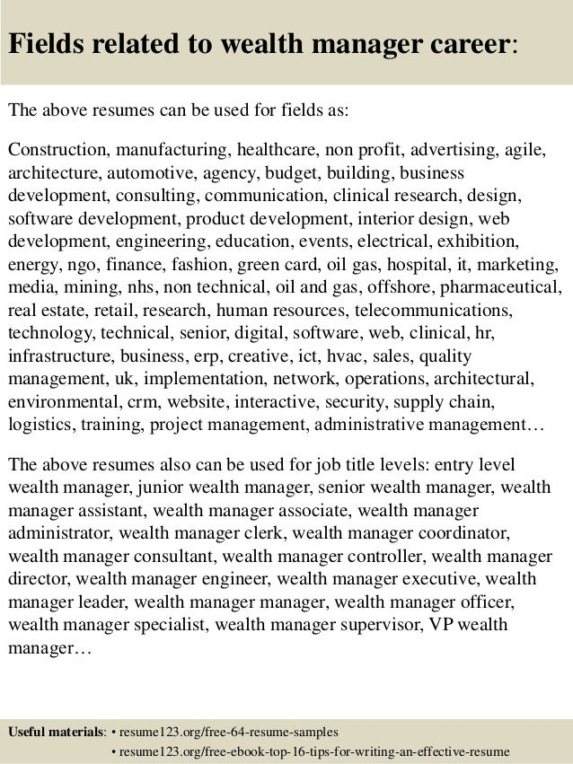 top 8 wealth manager resume samples