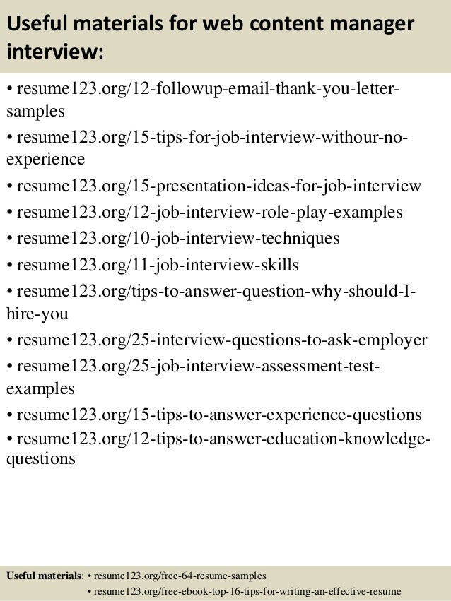 Great ... 14. Useful Materials For Web Content Manager ...  Content Manager Resume