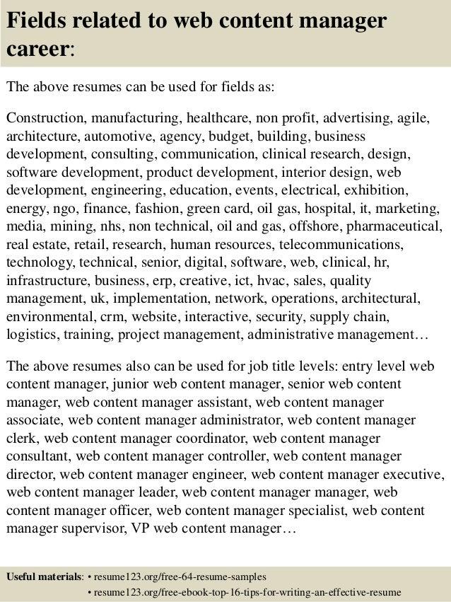 Resume For Web Content Management. digital marketing manager ...