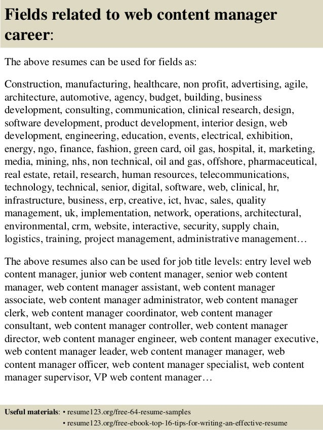 ... 16. Fields Related To Web Content Manager ...  Content Manager Resume