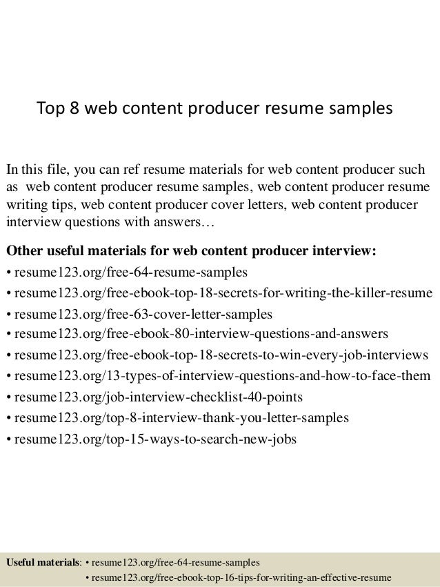 top 8 web content producer resume samples in this file you can ref resume materials - Web Producer Resume