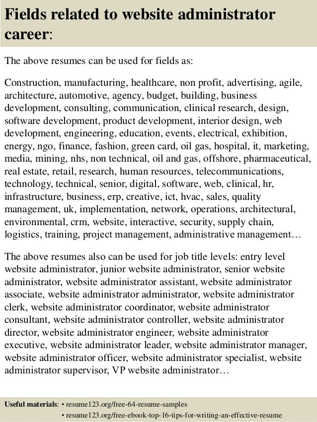 16 fields related to website administrator - Web Administration Sample Resume