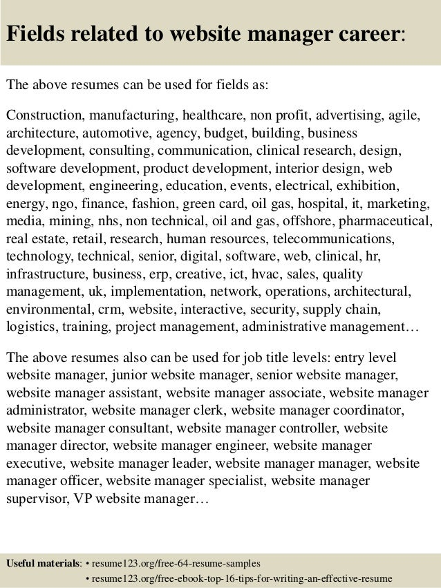 website manager resumes