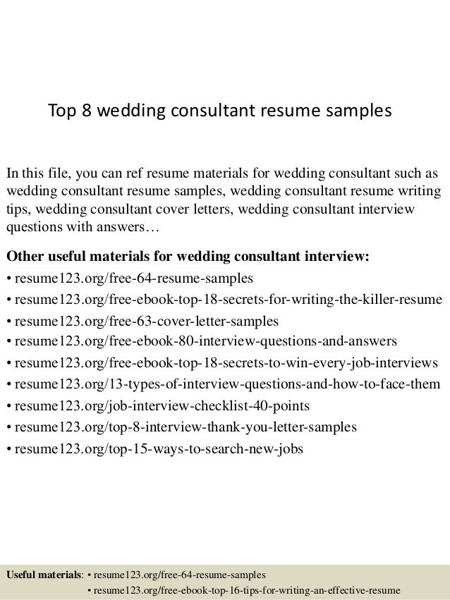 Top 8 Wedding Consultant Resume Samples