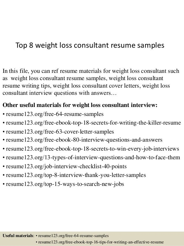 Top 8 weight loss consultant resume samples